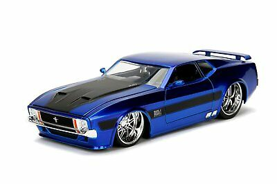 1973 FORD MUSTANG MACH 1 124 JADA BIG TIME MUSCLE DIECAST MODEL CAR Blue Silver
