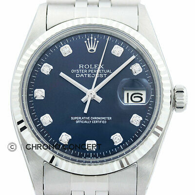 Mens Rolex Datejust 18K White Gold - Stainless Steel Blue Diamond Dial Watch