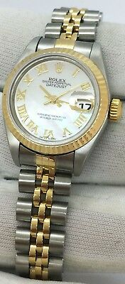 ROLEX DATEJUST TWO TONE MOP ROMAN NUMERAL DIAMOND DIAL 18K YG - SS BOX - PAPERS