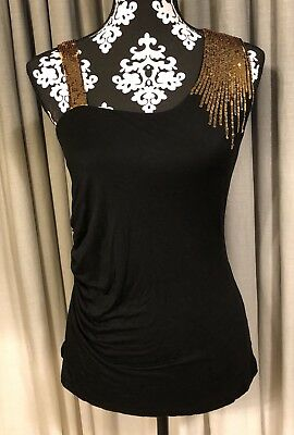 Wet Seal Top Blouse Large Black Bling Sequins Ruched Side Semi Lined EUC