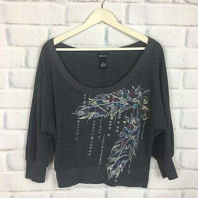 Wet Seal Womens Gray Off-The-Shoulder Sweatshirt Top Gold Feather Graphic M