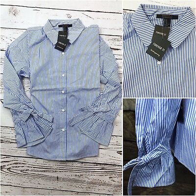 NWT FOREVER 21 Pinstripe Striped Ruffle Sleeves Button Down Loose Shirt