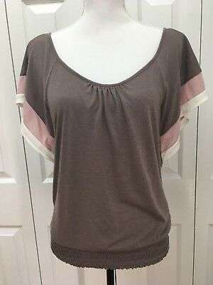 American Eagle Outfitters Elastic Waist Top  Size Medium  TaupeMauveIvory