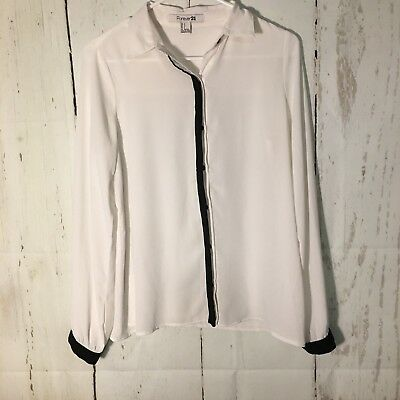 Forever 21 womens small white sheer professional button down blouse career