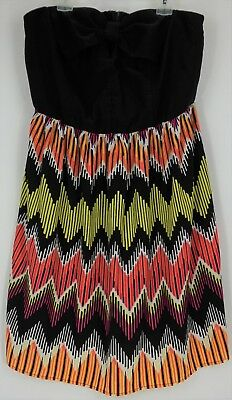 Wet Seal Womens Strapless Dress Black Top Multi-Color Skirt Keyhole Size 1X
