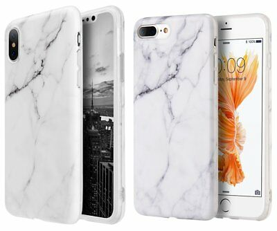 iPhone 6S  7  8 Plus X - Hard TPU Rubber Case Cover White Marble Stone Pattern