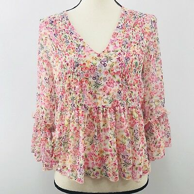 Zara Womens Floral Summer Blouse Top Size XS 34 Sleeve Multicolor