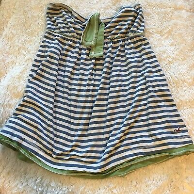 Hollister Co XS Old school Baby Doll Sleeveless Tube Top Stripes Green - Blue