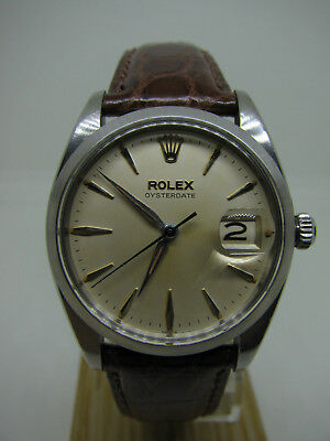 Vintage 1961 Mens Rolex Oysterdate 6694 Dauphine Hands Tropical Patina Dial