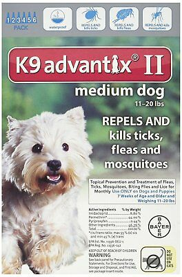 Bayer K9 Advantix II for Medium Dogs 11-20 lbs 6 Pack - NEW