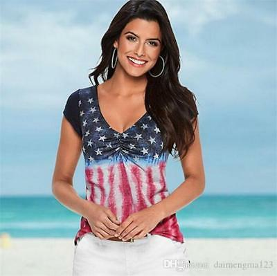 NEW - Womens American Flag 4th Of July Short Sleeve Blouse Top