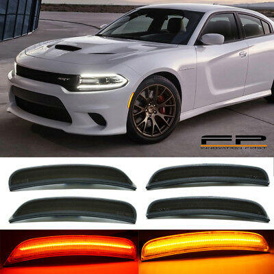 For 2015-2018 DODGE CHARGER Smoked LENS LED SIDE MARKER LIGHTS FRONT - REAR SET