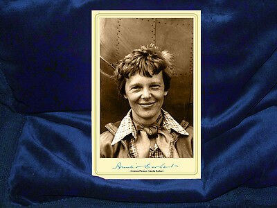 AMELIA EARHART Aviation Pioneer Feminist Cabinet Card Photograph A- Autograph RP
