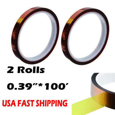2 Rolls Heat Resistance Tape 0-39inch100ft Sublimation Transfer Thermal Proof