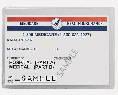 TWO 2 Medicare Card Protectors Clear Plastic Cover Sleeves 3-34x 2-34