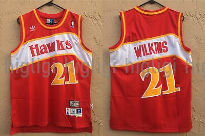 NWT Dominique Wilkins 21 NBA Atlanta Hawks Swingman Throwback Jersey Man Red