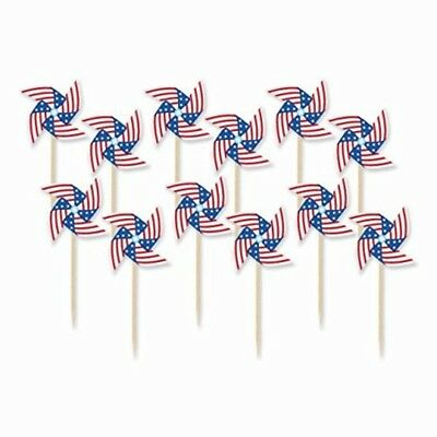 Patriotic Pinwheel in Wooden Picks 4th of July Party Supply and Decoration 3