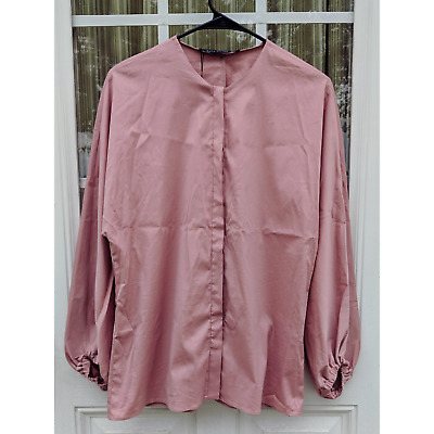 NWT Zara Blush Button Down Bubble Sleeve Blouse Top Sz S Dolman Neutral Wardrobe