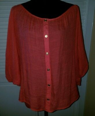 NEW Womens 1X Wet Seal Casual Coral Top Batwing sleeves NICE Button Down