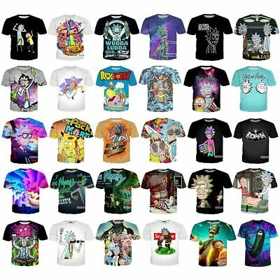 Womensmens RICK AND MORTY 3D print Short Sleeve Casual T-Shirts Tops Tee S-5XL