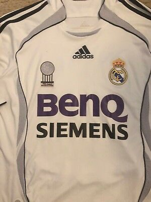 Vintage Real Madrid David Beckham ADIDAS BenQ Siemens Soccer Jersey Youth Large