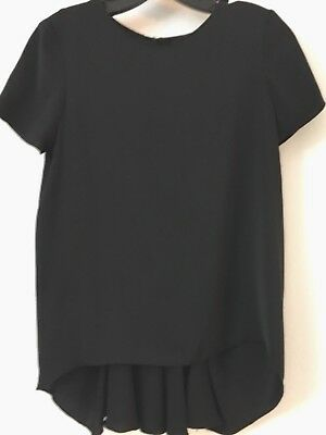ZARA BASIC HIGH LOW BLACK CAP SLEEVE BLOUSE TOP W CUT OUT - PLEATED BACK SMALL