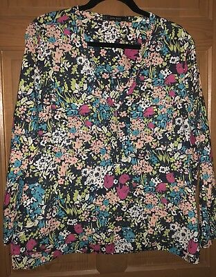 Women's ZARA Shirt Blouse Top 100 Cotton 3 Button V Neck 34 Roll Sleeve FLORAL