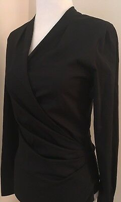 Zara Black Faux Wrap Ruched Shirt Top Small Work Suiting