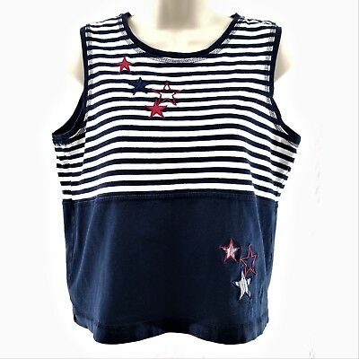 Onque Petite Womens Size Medium 4th of July Stars and Stripes Sleeveless Top