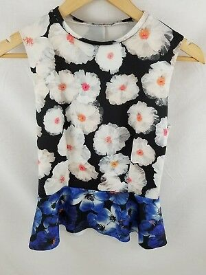 ZARA Womens White Black - Blue Floral Print Sleeveless Top Sz Small