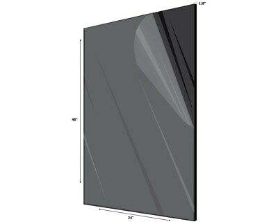 AdirOffice Black Plexiglass Opaque Acrylic Sheet 18 Thick 24 in- x 48 in-
