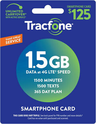 TracFone Smartphone Only Plan - 365 Days1500 Talk1500 Text1500MB Data