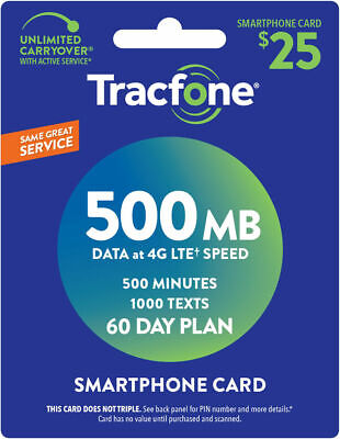 Tracfone Smartphone Only Plan - 60 Days500 Minutes1000 Text500MB Data