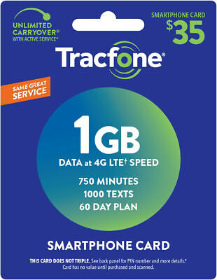 TracFone Smartphone Only Plan - 60 Days750 Minutes1000 Text1GB Data