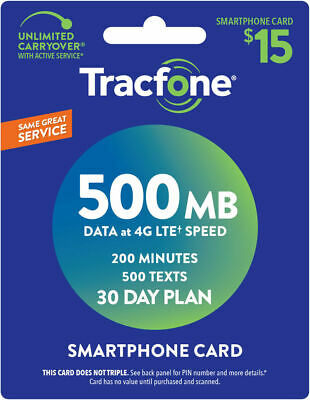 TracFone Smartphone Only Plan - 30 Days200 Minutes500 Text500MB Data