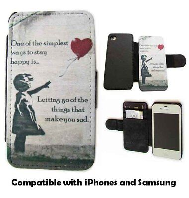 BANKSY INSPIRED GIRL WITH BALLOON LEATHER WALLET FLIP PHONE CASE FOR SAMSUNG LG
