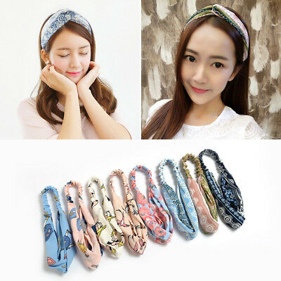 US Womens Popular Yoga Elastic Floral Hair Band Headband Turban Twisted Knotted