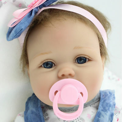 22Full Silicone Vinyl Reborn Baby Doll Lifelike Handmade Newborn Girl -Clothes