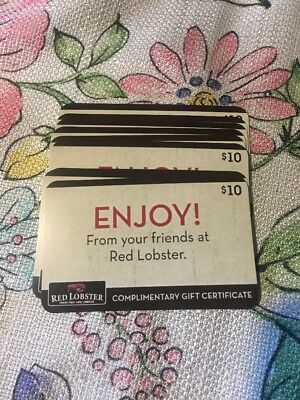 Red Lobster - 1O 10 Certificates Stackable 100 Value Exp 123119