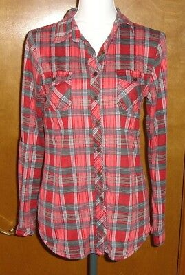 WET SEAL - Red Grey Plaid Flannel Long Sleeve Button Front BlouseShirt Size -M