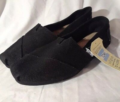 NEW TOMS Womens Size 10w Slip On Black Shoes New with Tags