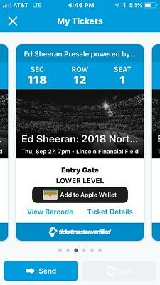 4 Tickets Availble For The Sold Out Ed Sheeran 927 Lincoln Financial Center