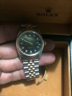 ROLEX Datejust 18K Black diamond dial sapphire 36mm 16013 Watch w Box