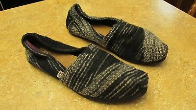 Womens TOMS Classic Black Multi-Color Striped Wool Slip-On Flats Shoes Size 8-5