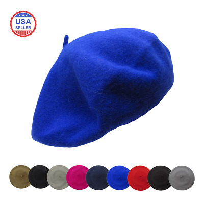 Wool French Beret Womens Mens Plain Solid Color Tam