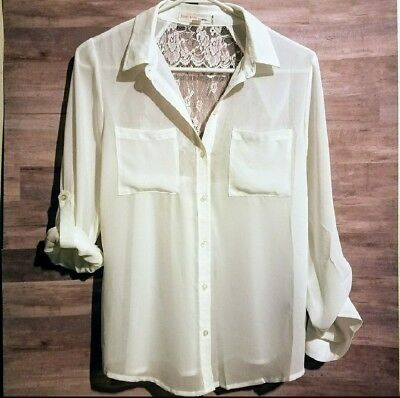 Forever 21 Size M Button Down Sheer Lace Back Blouse