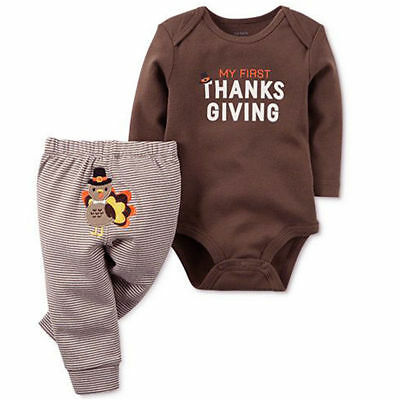 US Newborn Baby Boys Girls Thanksgiving Turkey Romper Tops-Striped Pants Outfit