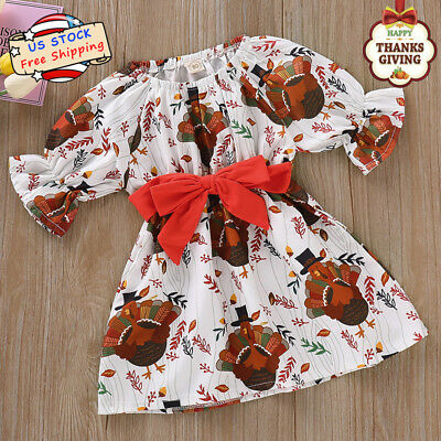 Toddle Kids Baby Girls Turkey Bell Sleeve Waistband Dress Thanksgiving Clothes