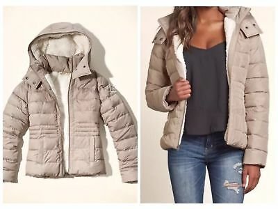 NWT HOLLISTER CO SHERPA LINED WINTER ZIP UP PUFFER JACKET COAT GRAY XS