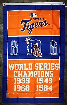 Detroit Tigers World Series Championship FLAG 3x5 ft MLB Sports Banner Man-Cave